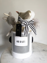 Load image into Gallery viewer, Black & White Striped OH BABY! Label Size Medium Colour White