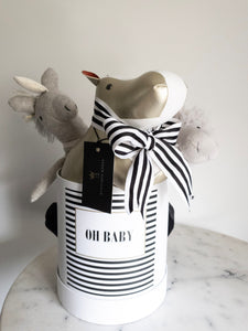 Black & White Striped OH BABY! Label Size Medium Colour White