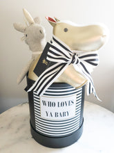 Load image into Gallery viewer, Black and White Striped Who Loves ya Baby Size Medium Colour Black