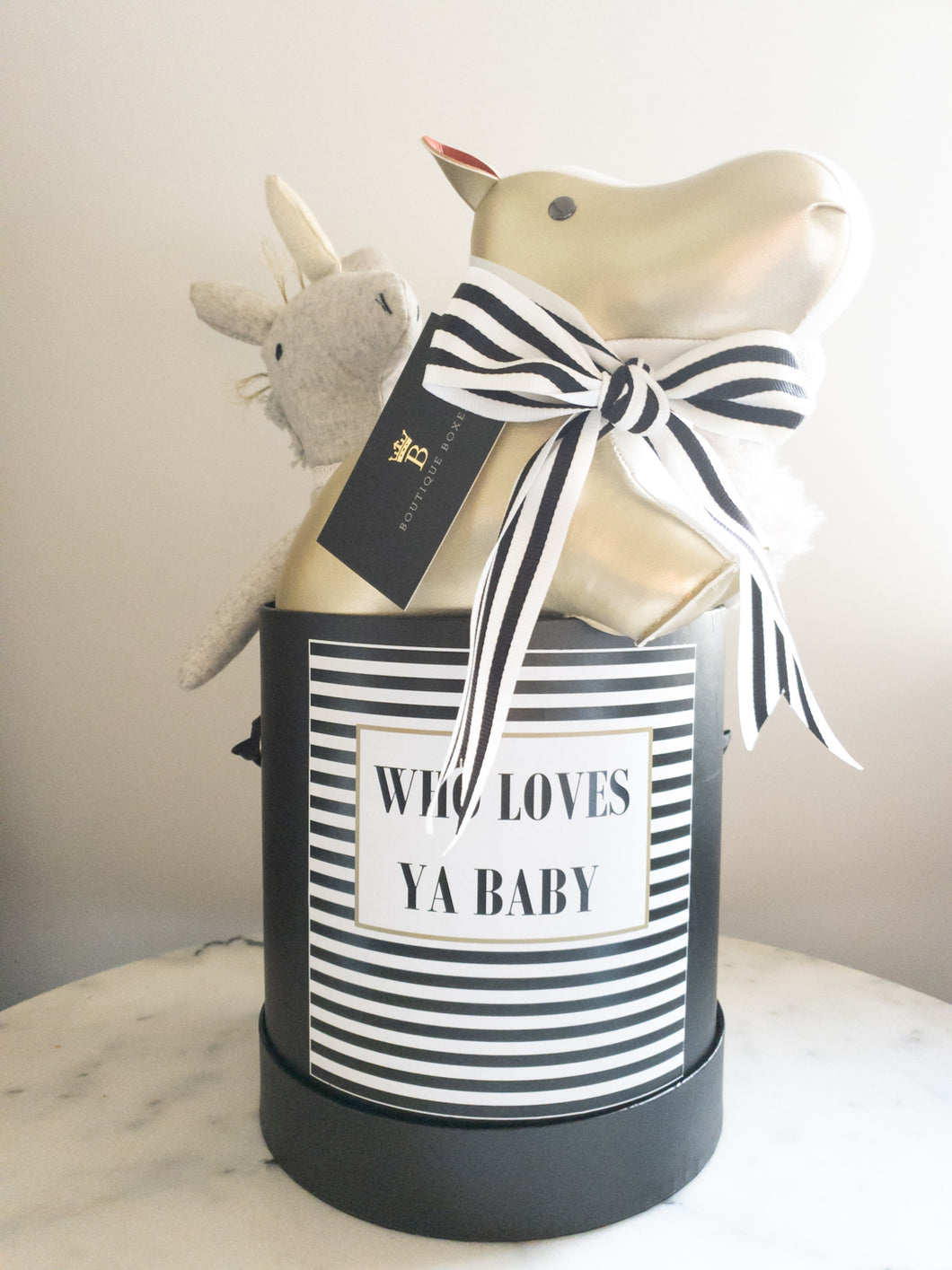 Black and White Striped Who Loves ya Baby Size Medium Colour Black