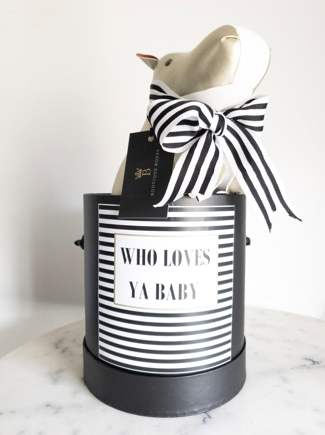 Black and White Striped Who Loves ya Baby Size Small Colour Black