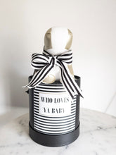 Load image into Gallery viewer, Black and White Striped Who Loves ya Baby Size Small Colour Black