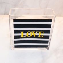 Load image into Gallery viewer, LOVE COLLECTION VASE - Black & White Striped Metallic Gold Love