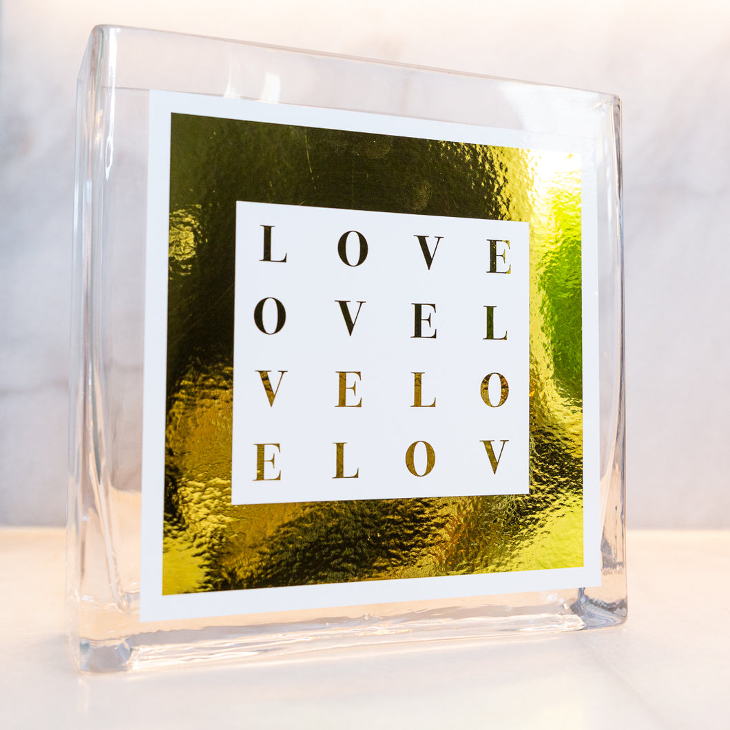 LOVE COLLECTION VASE- White with metallic gold border