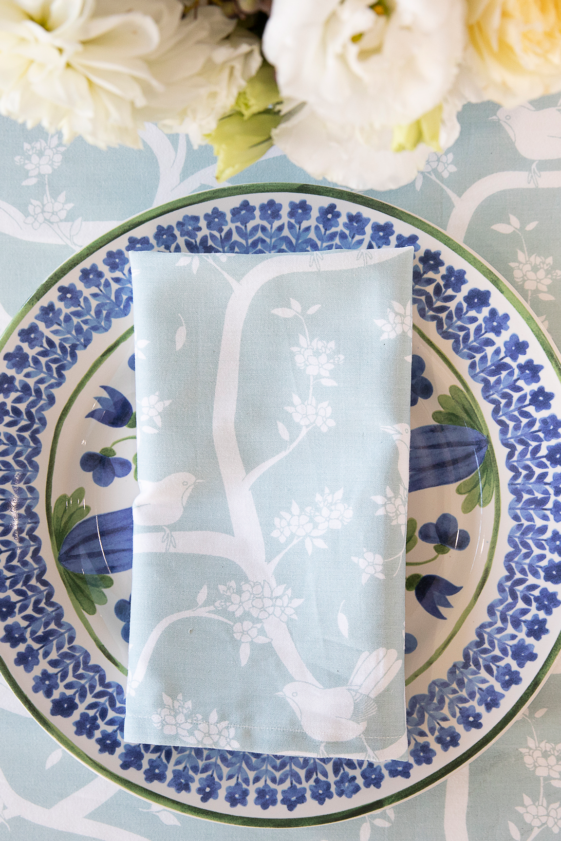 Garden Party Duck Egg Napkins - Set 4