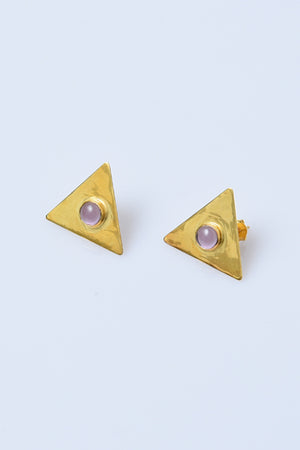 Gold-Plated Sterling Silver Triangle Earrings with Amethyst - MIRAYJEWELRY