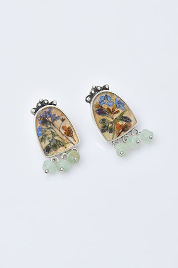 "Sterling Silver Earrings ""Hovnatanyan"" collection with Real Flowers - MIRAYJEWELRY"