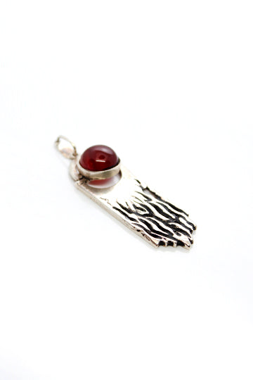 Sterling Silver Fire Red Stone Pendant - MIRAYJEWELRY