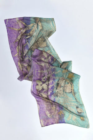 Silk Scarves made with real plants and leaves Light Purple - MIRAYJEWELRY