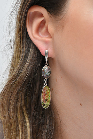 Sterling Silver Agate Hanging Earrings with Real Flowers - MIRAYJEWELRY