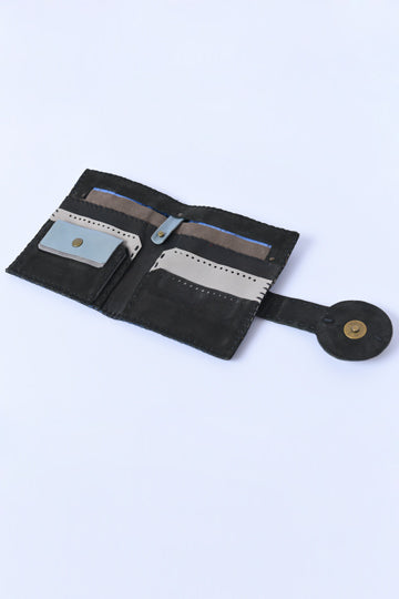 Leather Wallet black - MIRAYJEWELRY