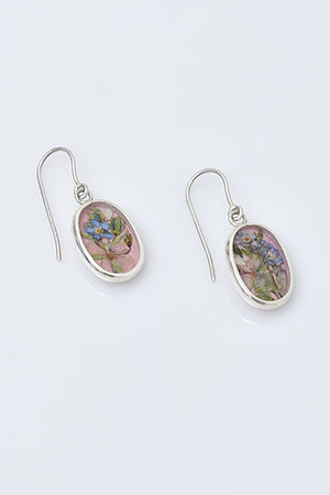 Sterling Silver Oval Earrings with Real Flowers - MIRAYJEWELRY