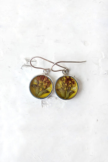 Sterling Silver Round Earrings with Real Flowers - MIRAYJEWELRY