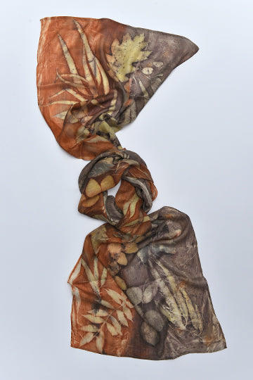 Silk Scarves made with real plants and leaves Dark Red - MIRAYJEWELRY