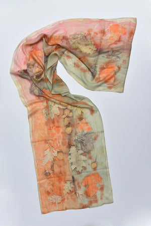 Silk Scarves made with real plants and leaves Light Orange - MIRAYJEWELRY