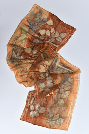 Silk Scarves made with real plants and leaves Dark Orange - MIRAYJEWELRY