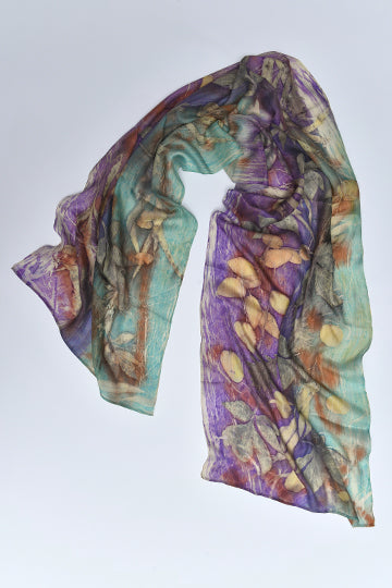 Silk Scarves made with real plants and leaves Turquoise - MIRAYJEWELRY