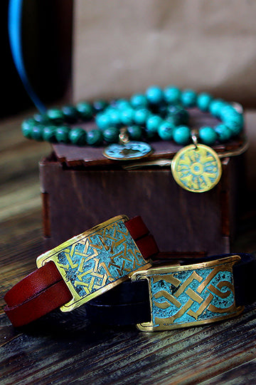Wide Leather Bracelet with Patterns - MIRAYJEWELRY