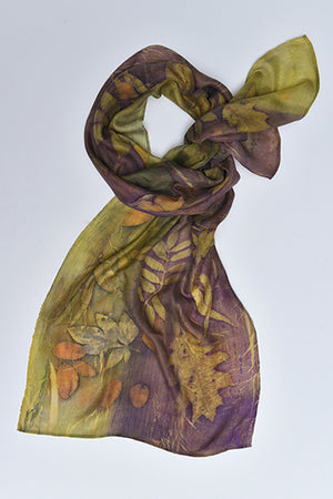 Silk Scarves made with real plants and leaves Green - MIRAYJEWELRY