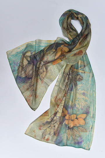Silk Scarves made with real plants and leaves Blue - MIRAYJEWELRY