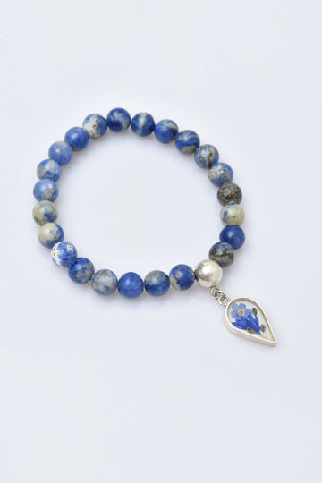 Sterling Silver Blue Sodalite Stones Bracelet with Real Flowers - MIRAYJEWELRY