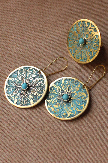 Round Earrings with Stone - MIRAYJEWELRY