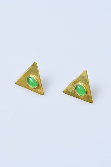 Gold-Plated Sterling Silver Triangle Earrings with Chalcedony - MIRAYJEWELRY