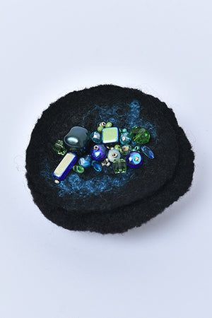 Felted Round Merino Wool Brooch with Czech Crystal Beads Black - MIRAYJEWELRY