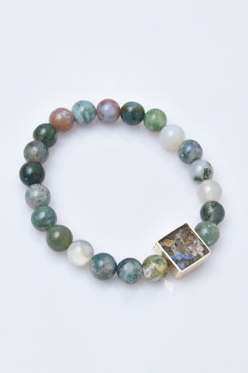 Sterling Silver Agate Stones Bracelet with Real Flowers - MIRAYJEWELRY