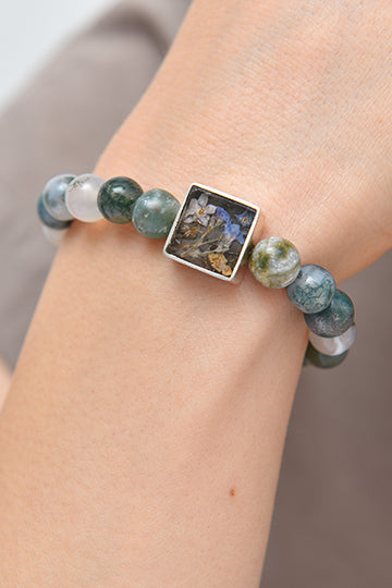 Sterling Silver Agate Stone Bracelet with Real Flowers - MIRAYJEWELRY