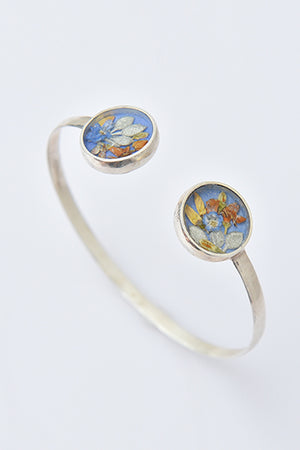 Sterling Silver Cuff Bracelet with Real Flowers - MIRAYJEWELRY