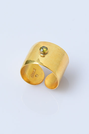 Gold-Plated Sterling Silver Ring with Zircon - MIRAYJEWELRY
