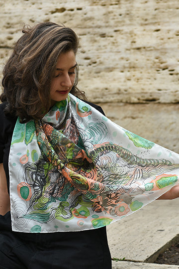 "Silk Scarf ""Magic Plant"" - MIRAYJEWELRY"