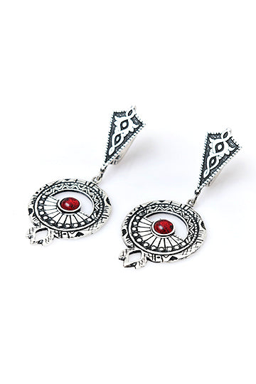 Sterling Silver Red Stone Noor Earrings - MIRAYJEWELRY
