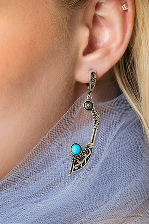 Sterling Silver Blue Stone Spike Earrings - MIRAYJEWELRY