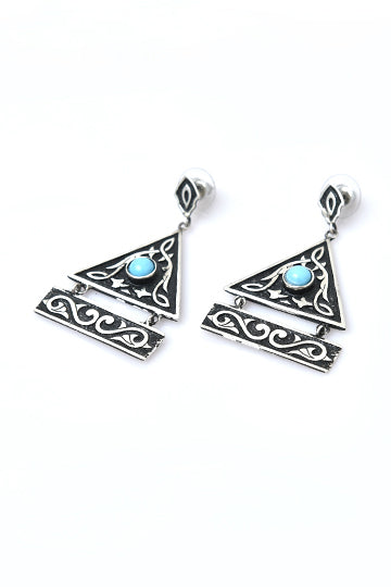 Sterling Silver Blue Stone Kanon Earrings - MIRAYJEWELRY