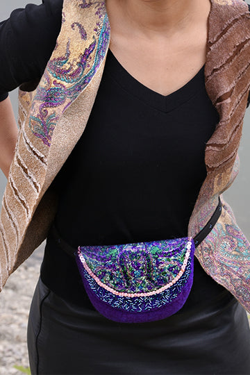 "Whole Felted Merino Wool ""Taj Mahal"" Bag with Czech Crystal Beads - MIRAYJEWELRY"