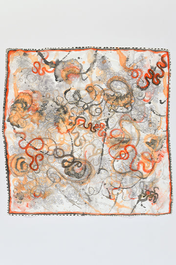"Silk Scarf ""Unwinnable Orange"" - MIRAYJEWELRY"