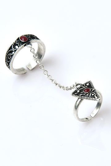 Sterling Silver Red Eye Chain Ring - MIRAYJEWELRY