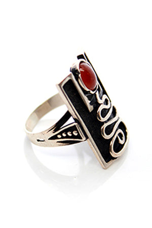 Sterling Silver Red Stone Ring - MIRAYJEWELRY