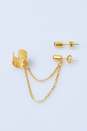 Gold-Plated Sterling Silver Clip Ear Cuff with Chain Earring - MIRAYJEWELRY