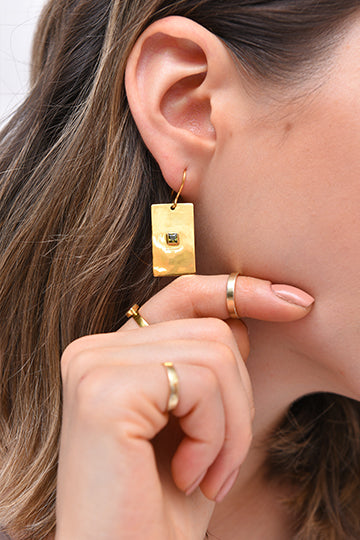 Sterling Silver Rectangle Gold-Plated Earrings with Zircon - MIRAYJEWELRY