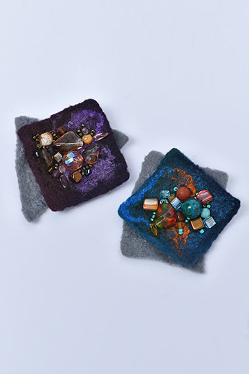 Felted Square Merino Wool Brooch with Czech Crystal Beads - MIRAYJEWELRY