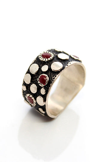 Sterling Silver Red Dots Ring - MIRAYJEWELRY