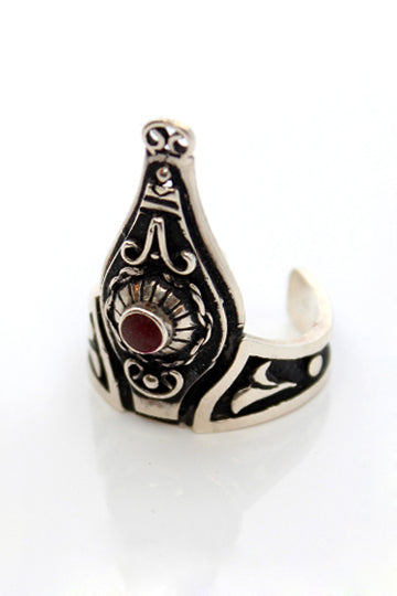 Sterling Silver Red Stone Crown Ring - MIRAYJEWELRY