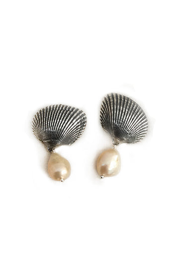 Sterling Silver Shell Earrings with Cultured Pearls