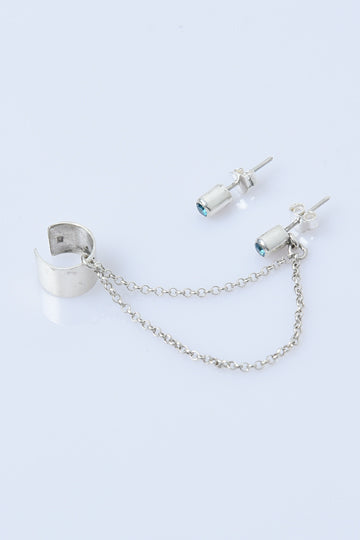 Sterling Silver Clip Ear Cuff with Chain Earring - MIRAYJEWELRY
