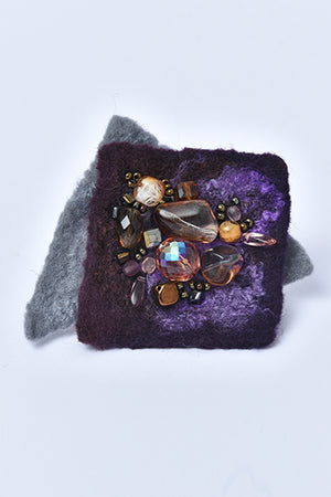 Felted Square Merino Wool Brooch with Czech Crystal Beads Purple - MIRAYJEWELRY