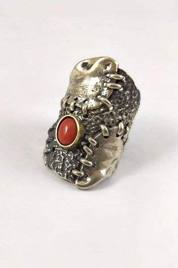 Silver Ring with Coral - MIRAYJEWELRY