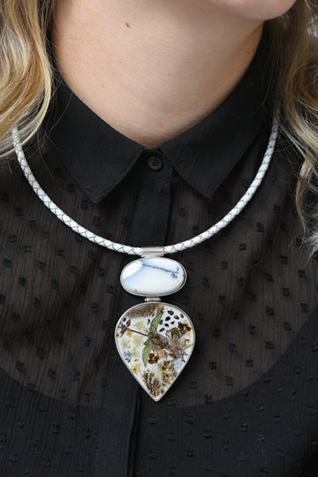 Sterling Silver White Agate Stone Necklace with Real Flowers - MIRAYJEWELRY
